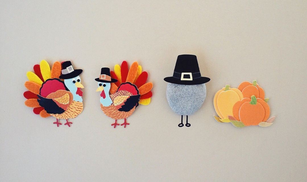 Felt Cut-outs of Turkeys, a Pilgrim Hat and a Pumpkin