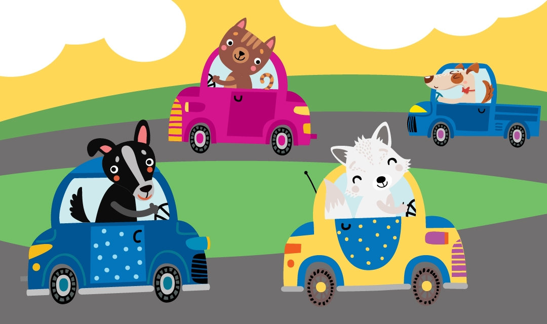 Cartoon Cats and Dogs in Cars on Road